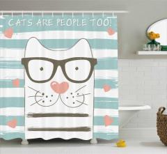 Gözlüklü Şirin Kedi Duş Perdesi Çizgili Kalpli