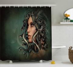 Medusa'nın Saçları Desenli Duş Perdesi 3D Efektli
