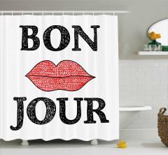Bon Jour ve Dudaklar Duş Perdesi Dekoratif