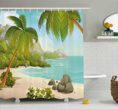 Cennet Plajında Tatil Duş Perdesi Tropikal Ada