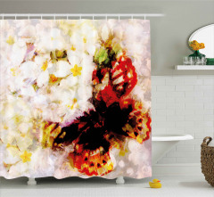 Beyaz Bahar Çiçekleri Duş Perdesi Kelebekli Romantik
