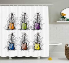 Rengarenk Gitar Desenli Duş Perdesi Şık Tasarım