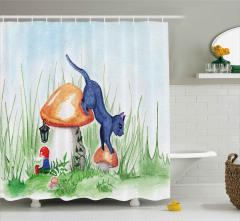 Sihirli Mantarlar ve Kedi Duş Perdesi Dekoratif