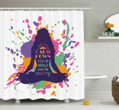 Lotus Oturuşu Yapan Kadın Duş Perdesi Meditasyon Şık