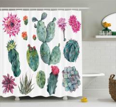 Sulu Boya Kaktüsler Desenli Duş Perdesi Botanik Şık
