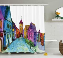 Rengarenk Evler Desenli Duş Perdesi Sulu Boya Etkili