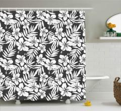 Tropik Çiçek Desenli Duş Perdesi Çeyizlik Romantik