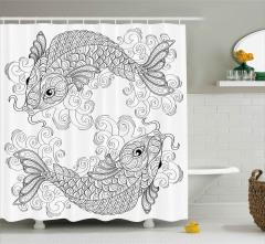 Siyah Beyaz Koi Balığı Duş Perdesi Şık Tasarım