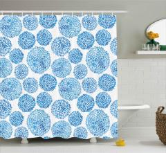 Mavi Japon Çiçekleri Desenli Duş Perdesi Sulu Boya
