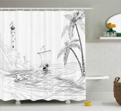 Deniz Feneri Tekne Palmiye Duş Perdesi El Çizimi