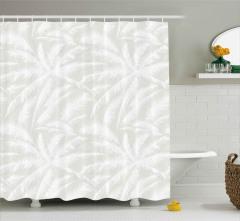 Palmiye Yaprakları Desenli Duş Perdesi Şık Tasarım