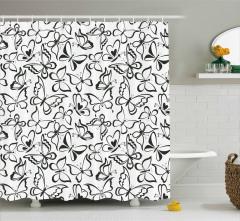 Siyah Beyaz Kelebek Desenli Duş Perdesi Çeyizlik