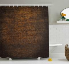 Dekoratif Ahşap Desenli Duş Perdesi Kahverengi