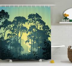 Ormanda Gün Doğumu Desenli Duş Perdesi Ağaçlar