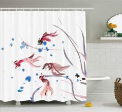 Kırmızı Balık Desenli Duş Perdesi Şık Tasarım