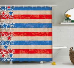 Kalpli Amerikan Bayrağı Duş Perdesi Dört Temmuz