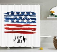 Dört Temmuz Kutlaması Desenli Duş Perdesi Lacivert