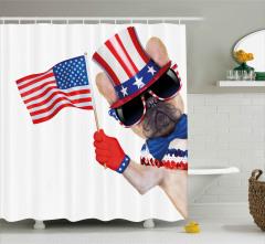 Amerikan Bayraklı Posta Damgası Duş Perdesi Trend