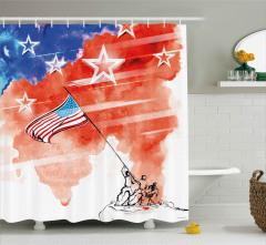 ABD Bayrağı Özgürlük Heykeli Duş Perdesi Dört Temmuz