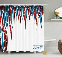 Kalpli Amerikan Bayrağı Desenli Duş Perdesi Lacivert