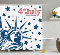 Yıldızlı Amerikan Bayrağı Desenli Duş Perdesi Şık