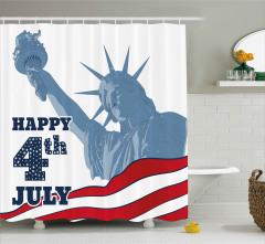 ABD Bayrağı Desenli Duş Perdesi Sulu Boya Efektli