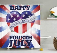 ABD Bayrağı Sallayan Köpek Duş Perdesi 4 Temmuz Şık