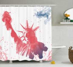 ABD Bayraklı Yıldız Desenli Duş Perdesi Dört Temmuz