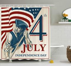 4 Temmuz Bağımsızlık Günü Duş Perdesi Asker Yıldız