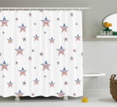 Nostaljik Amerikan Bayrağı Desenli Duş Perdesi Şık