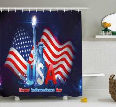 Bayrak Sallayan Köpek Desenli Duş Perdesi Amerikan