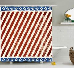 Barış İşareti Yapan Köpek Duş Perdesi ABD Bayrağı