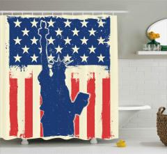 Yıldız Düğmeli ABD Bayrağı Duş Perdesi Dört Temmuz