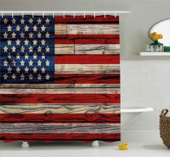 Amerikan Bayrağı Desenli Duş Perdesi 4 Temmuz Yıldız