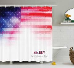 Yıldızlı ABD Bayrağı Duş Perdesi Kırmızı Lacivert