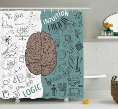 Beynin Bölümleri Desenli Duş Perdesi Kahverengi