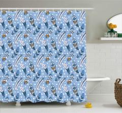 Mavi Tüy Desenli Duş Perdesi Dekoratif Şık
