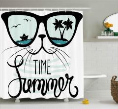 Güneş Gözlüklü Kedi Desenli Duş Perdesi Palmiye
