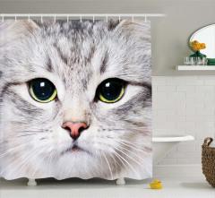 Sevimli Kedi Desenli Duş Perdesi Gri Şık Tasarım