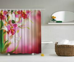 Çiçek Desenli Duş Perdesi Pembe Şık Tasarım Trend