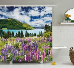Göl Kenarındaki Çiçekler Duş Perdesi Gökyüzü Bulut