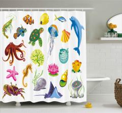 Deniz Hayvanları Desenli Duş Perdesi Yunus Ahtapot