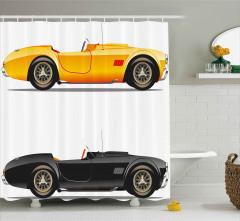 Spor Araba Desenli Duş Perdesi Sarı Siyah Trend