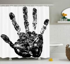 El İzi Desenli Duş Perdesi Siyah Beyaz Şık Trend
