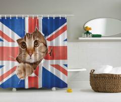 Bayrak ve Kedi Temalı Duş Perdesi Kahverengi Kırmızı