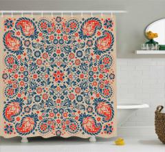 Dekoratif Çiçekli Şal Duş Perdesi Şık Tasarım Trend