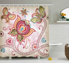 Oryantal Stil Çiçek Desenli Duş Perdesi Kelebek