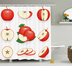 Kırmızı Kesik Elmalar Duş Perdesi Mutfak Dekoru