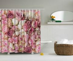Pembe Gül Desenli Duş Perdesi Romantik Şık Tasarım