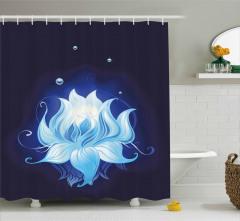 Sudaki Mavi Lotus Çiçeği Duş Perdesi Dekoratif Şık